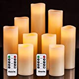 Flameless Flickering Battery Operated Candles 4' 5' 6' 7' 8' 9' Set of 9 Ivory Real Wax Pillar LED Candles with 10-Key Remote and Cycling 24 Hours Timer (Ivory 9 Pack)