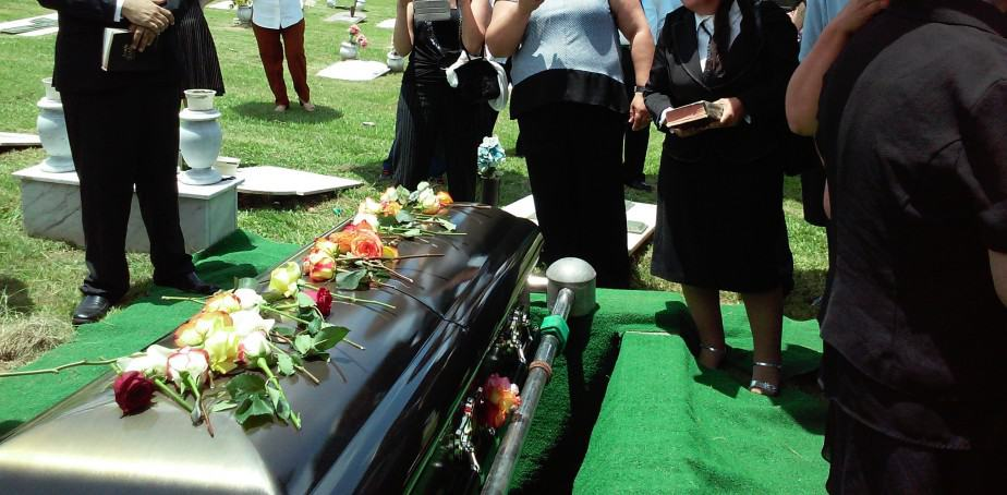 casket at a funeral