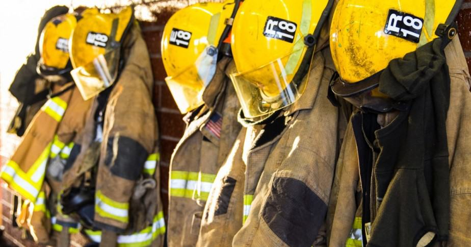 firefighter helmets and gear