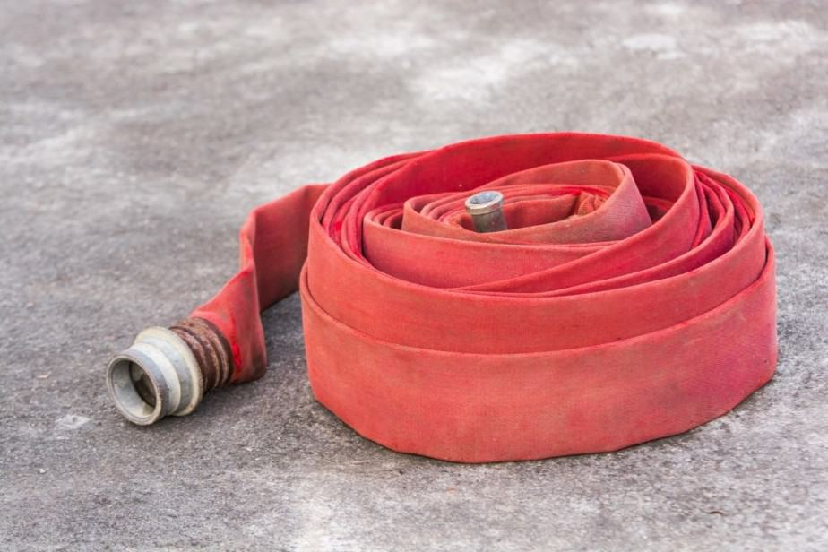 Rolled 5 inch supply fire hose.