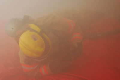 firefighter training in smoke